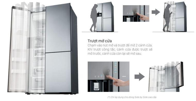 cửa tự động của tủ lạnh side by side hitachi